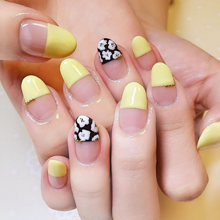 yellow half nail design
