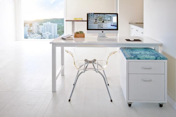 Classic White Computer Desk Design