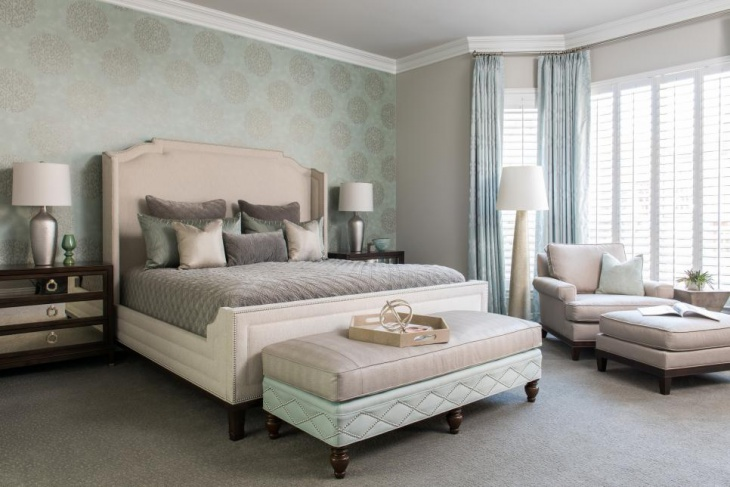 main bedroom features with neutral furniture
