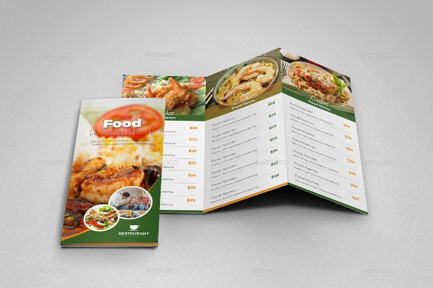 Trifold Restaurant Brochure InDesign