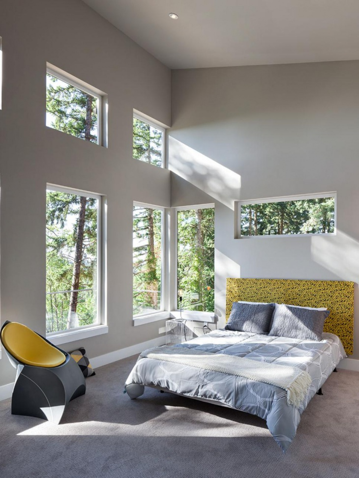 gray modern bedroom with minimal furniture