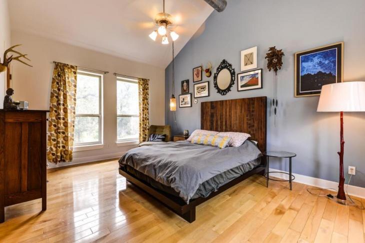 modern bachelor bedroom rugged furniture