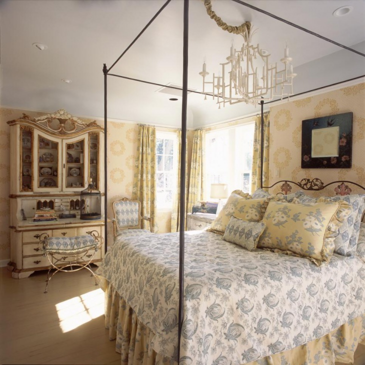 French Country Master Bedroom with Antique Furniture