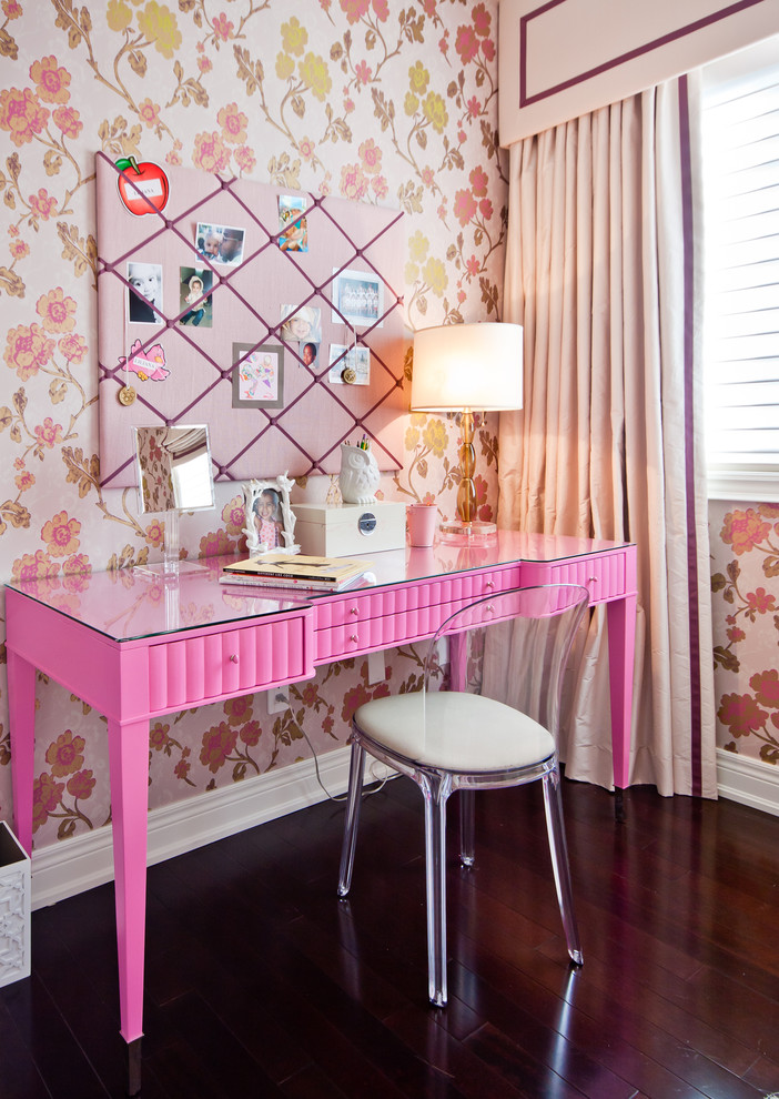girls pink color computer desk