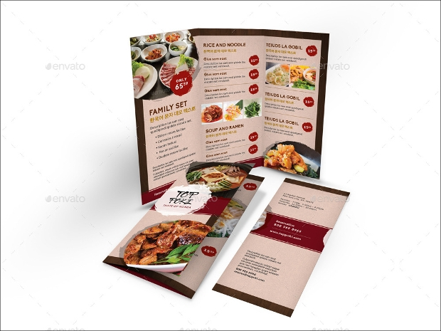 Korean Restaurant Trifold Menu Brochure