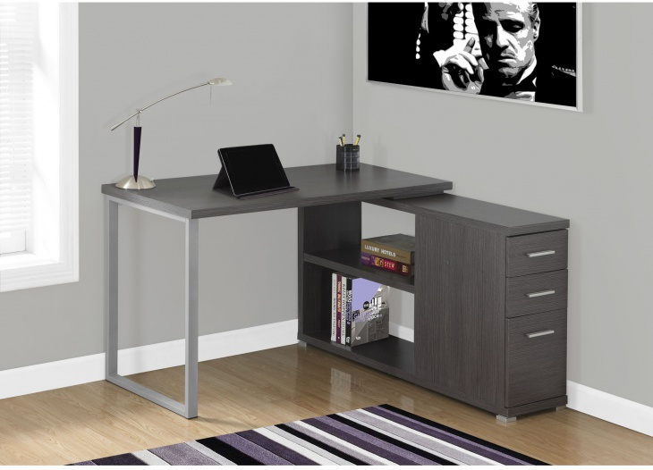 grey color corner side computer desk