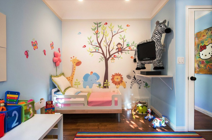 Trendy Kid's Bedroom Design with Tree Wall Art