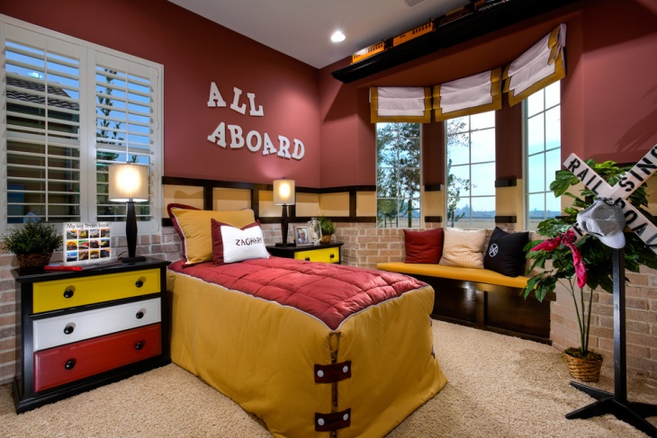 Playful Kids Bedroom with Red Wall Paint