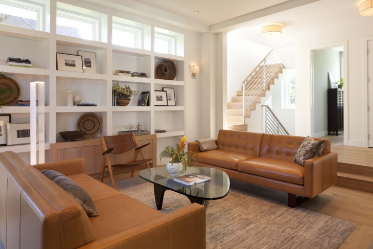 Modern family room with Brown Scandinavian furniture