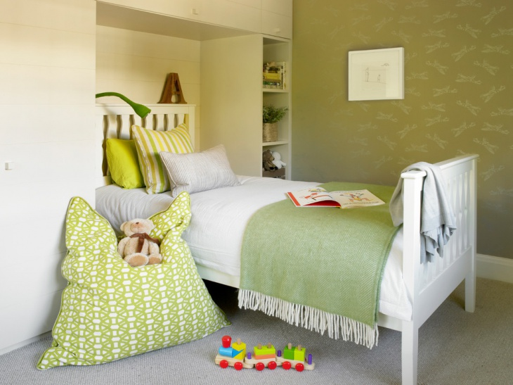 Kids Bedroom with Green Wall Art
