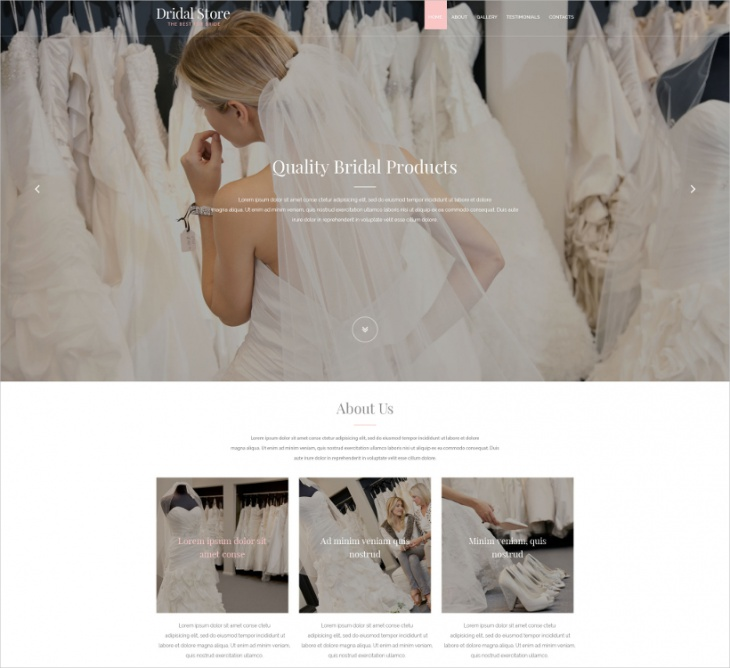 Bride One Page Website Template