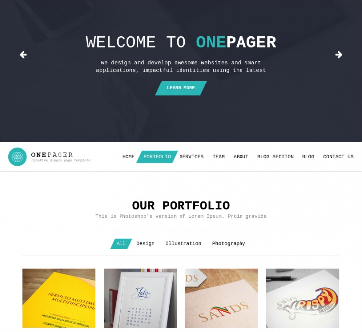 Portfolio One Page Website Template