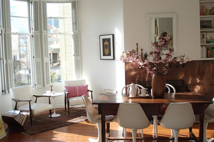 Eclectic Dining Room with Scandinavian Dininig Table
