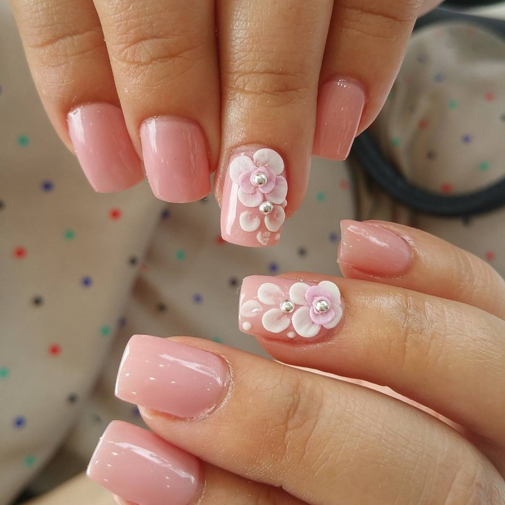 Rose Flower Nail Design for Short Nails