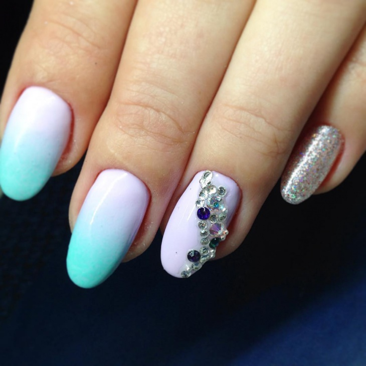 White and Blue nail Art Ideas