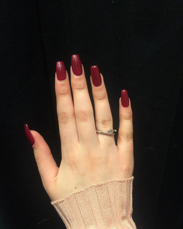 Dark Red Nail Art Design for White Hand