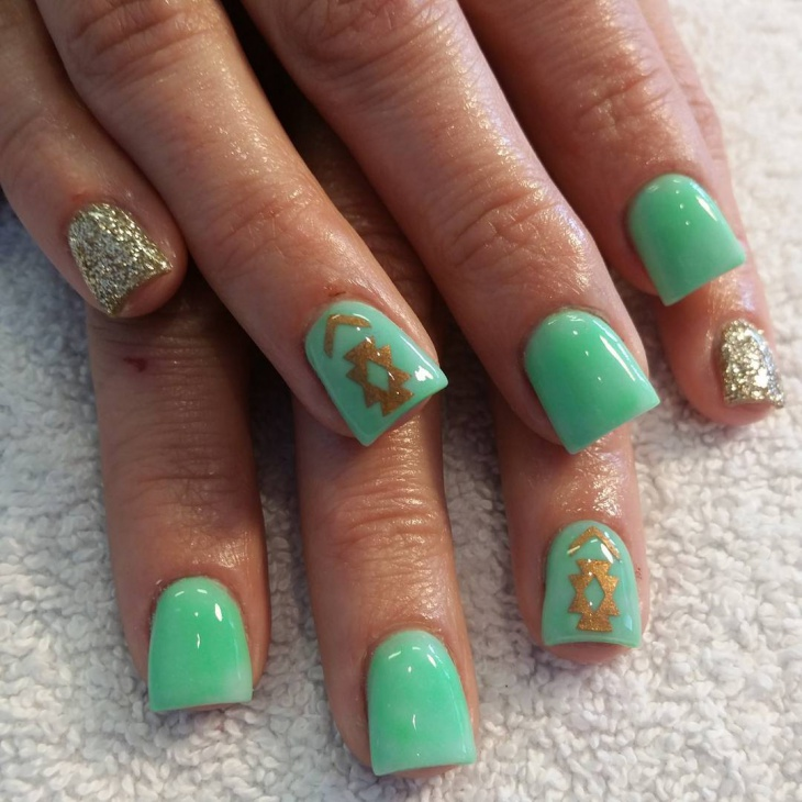 Green Colored Nail Art Design