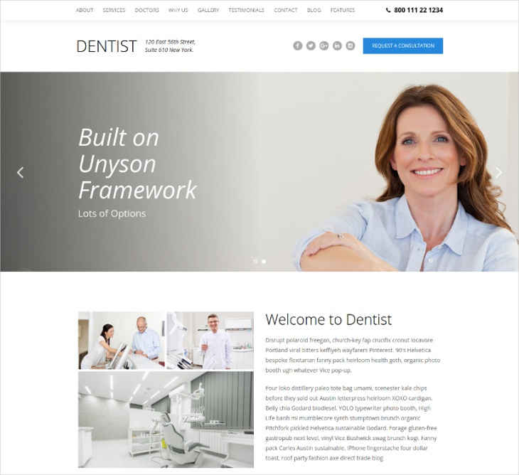 Dental One Page WordPress Theme
