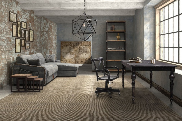 Grey Walls Industrial Home Office Design
