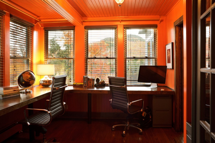 super orange feminine work space idea