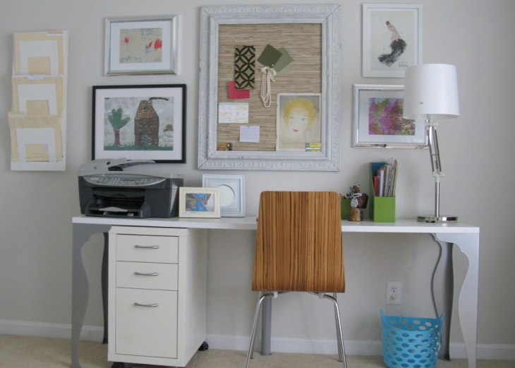 feminine work place design with shabby chic style