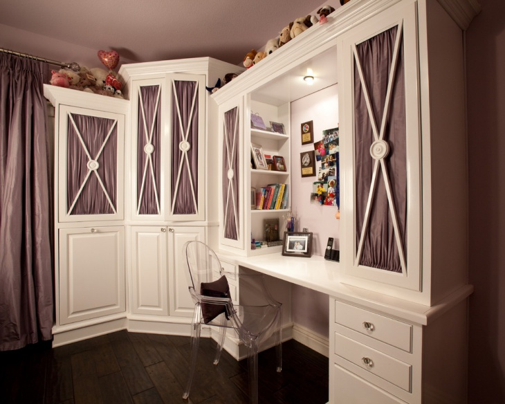 purple feminine work space design for teenagers