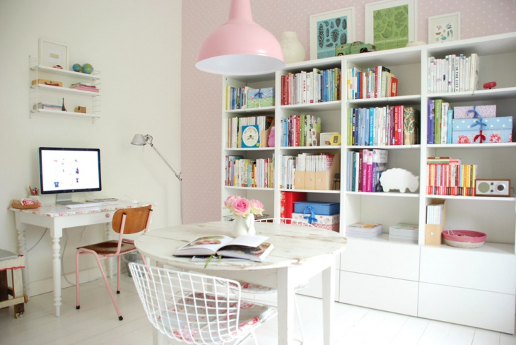 pink color feminine work space design