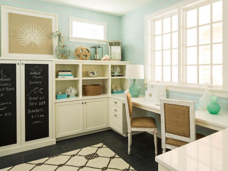 blue home office with chalkboard painted cabinets - Home Office Cabinet Design Ideas