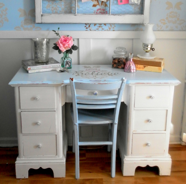 21 shabby chic home office designs decorating ideas. Black Bedroom Furniture Sets. Home Design Ideas