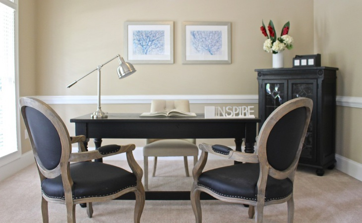 gorgeous home office design with black furniture