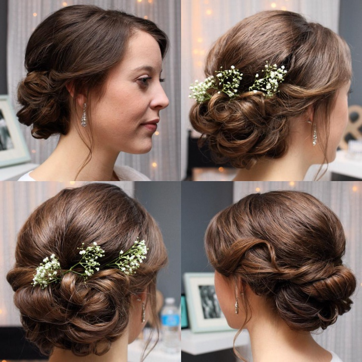 Simple Wedding Hairstyle Designs with Flowers