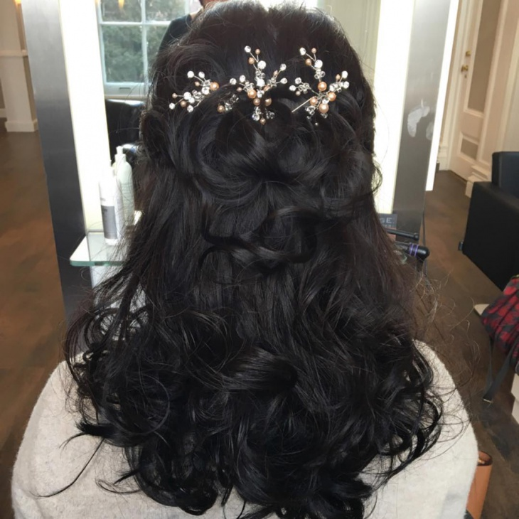 Long Black Wedding Hair Design