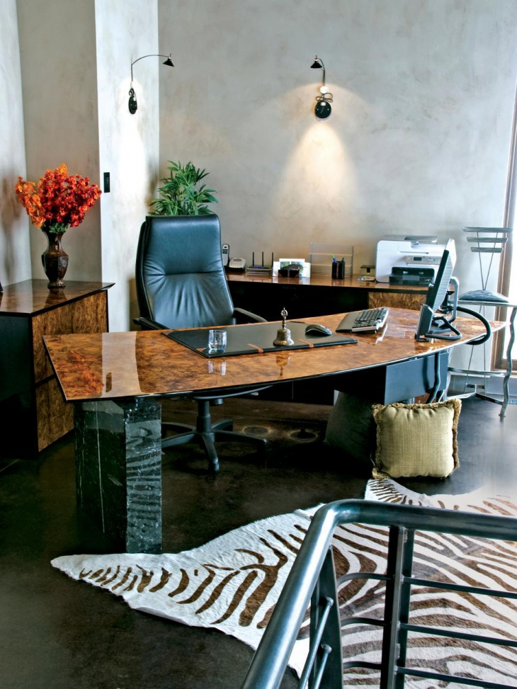 Eclectic Office With Stone and Wood Desk