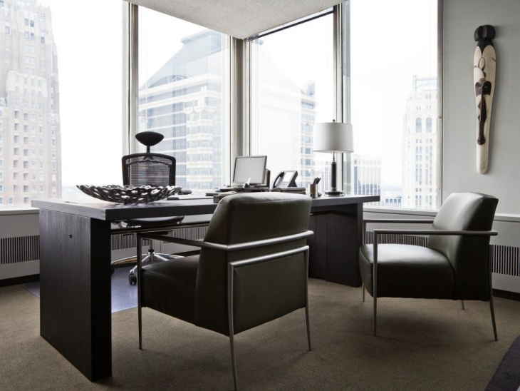 Modern Corner Office with Elegant Desk Design