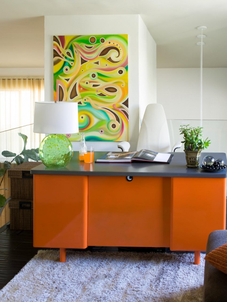 Vibrant Modern Office With Vintage Orange Desk