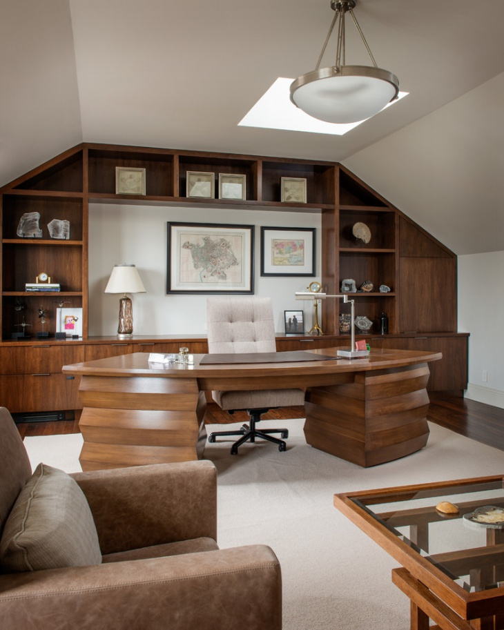 Traditional home office with Wooden Curved Shape Design