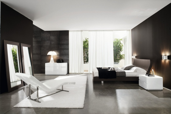 Black and white Futuristic Bedroom Design