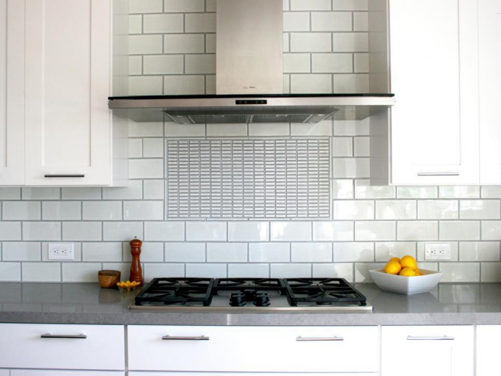 white tile kitchen countertops. Contemporary White Stainless Steel BuiltIn Kitchen With Gray CounterTops And White Tile Countertops