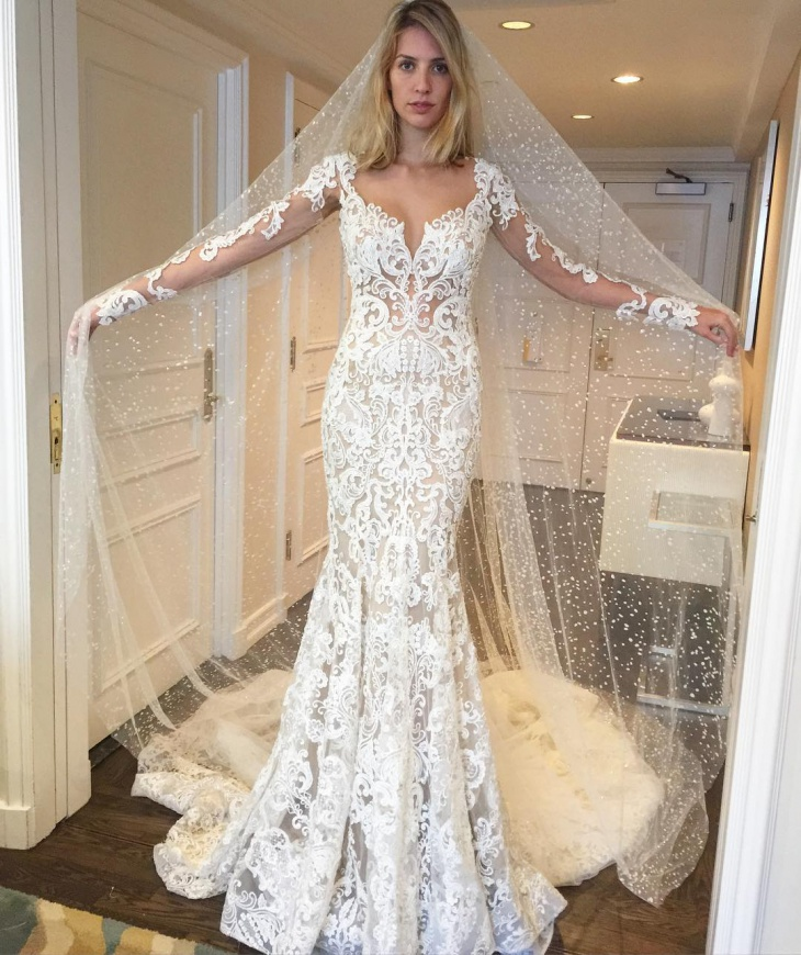 flower designed long wedding dress