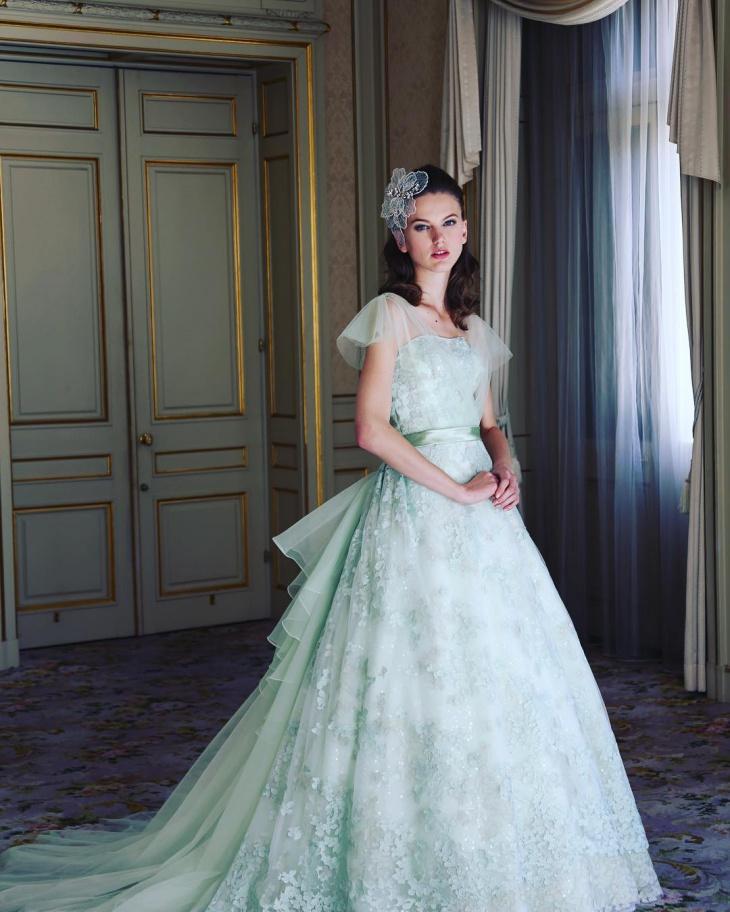 light green wedding dress design