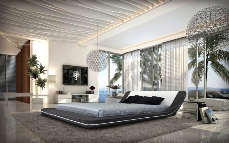 gorgeous bedroom design with leather platform bed