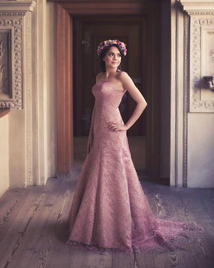 pink colored wedding dress design