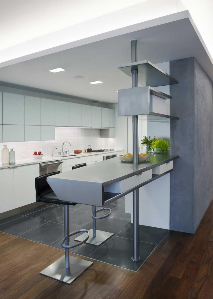 Gray and White Kitchen With white cabinets and countertops