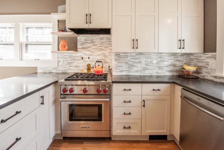 Stylish Transitional Kitchen With Gray stone countertops