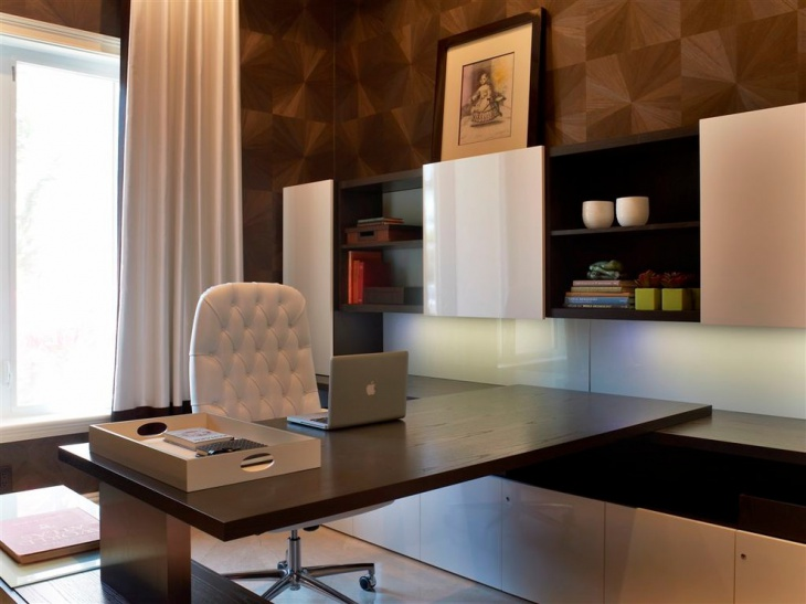 pattern accent walls gives luxury office look