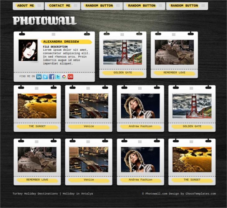 Photowall Photo Gallery Website Template