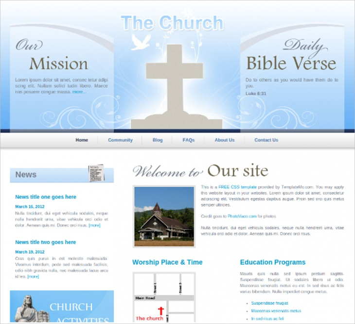 clean professional church template