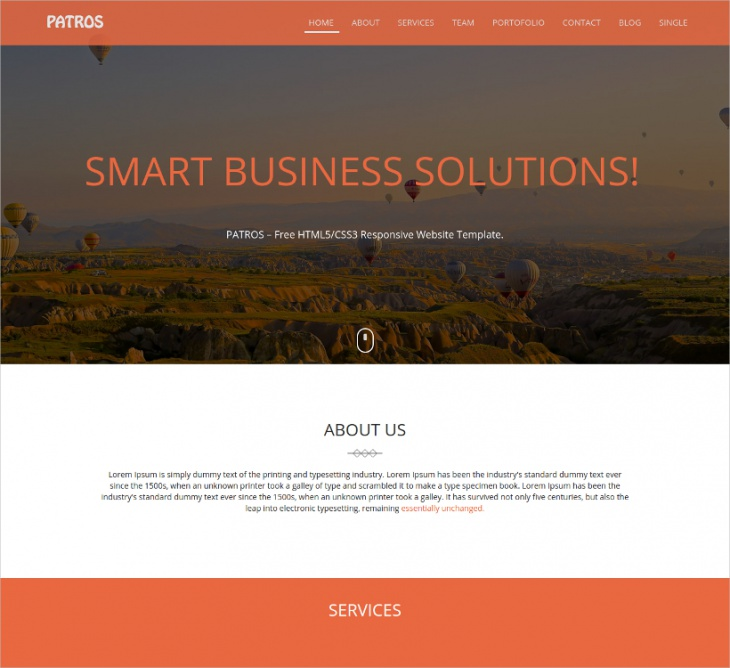 Single Page Business HTML5 Template