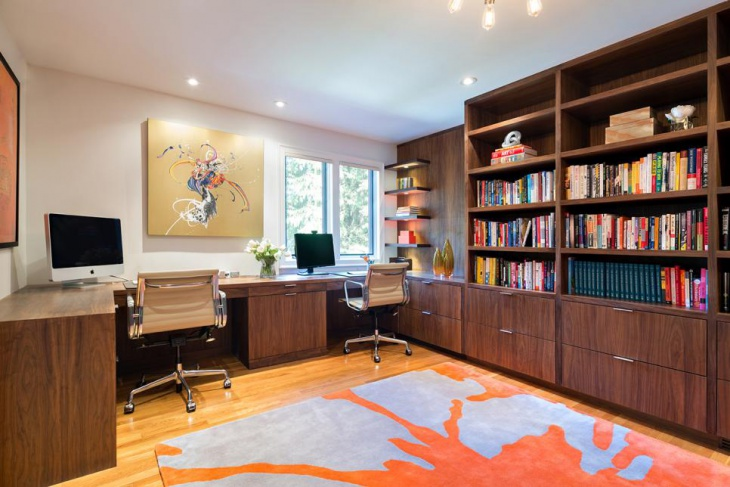 spacious office with built in cabinets