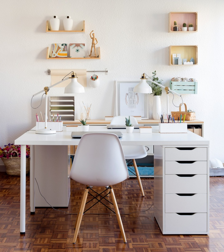 Home Desk Design Ideas: 21+ White Office Desk Designs, Ideas, Plans